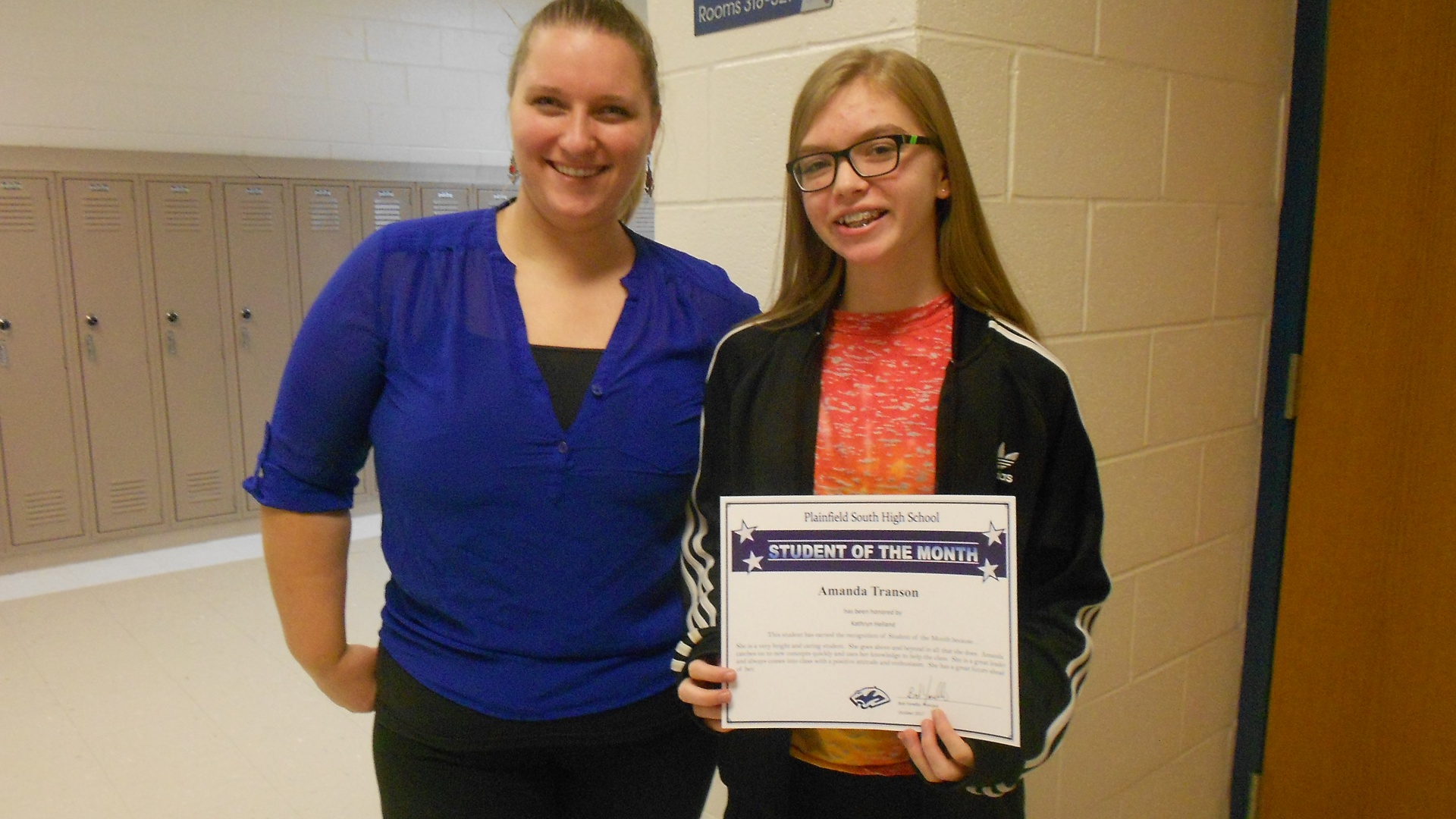 Student of the Month Amanda Transon